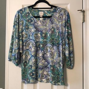 Chico's printed dolman sleeve top size one